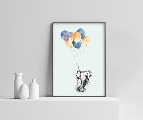 Barnerom Elefant & Ballong Plakat illustrasjon søt dåp gavetips dåpsgave fødselsplakat ballonger dyremotiv