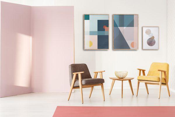 Plakater geometrisk | grafisk plakat | plakatvegg | fargerik | ramme | pastell | interiør | sorbet | av ohoi studio