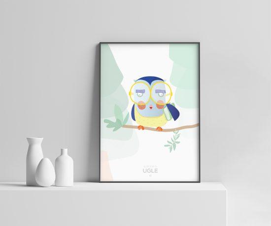 klok som ei ugle plakat | illustrasjon ugle | ugle plakat | dyremotiv | illustrert av Ohoi Studio