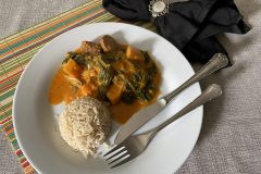 curry met pompoen en spinazie
