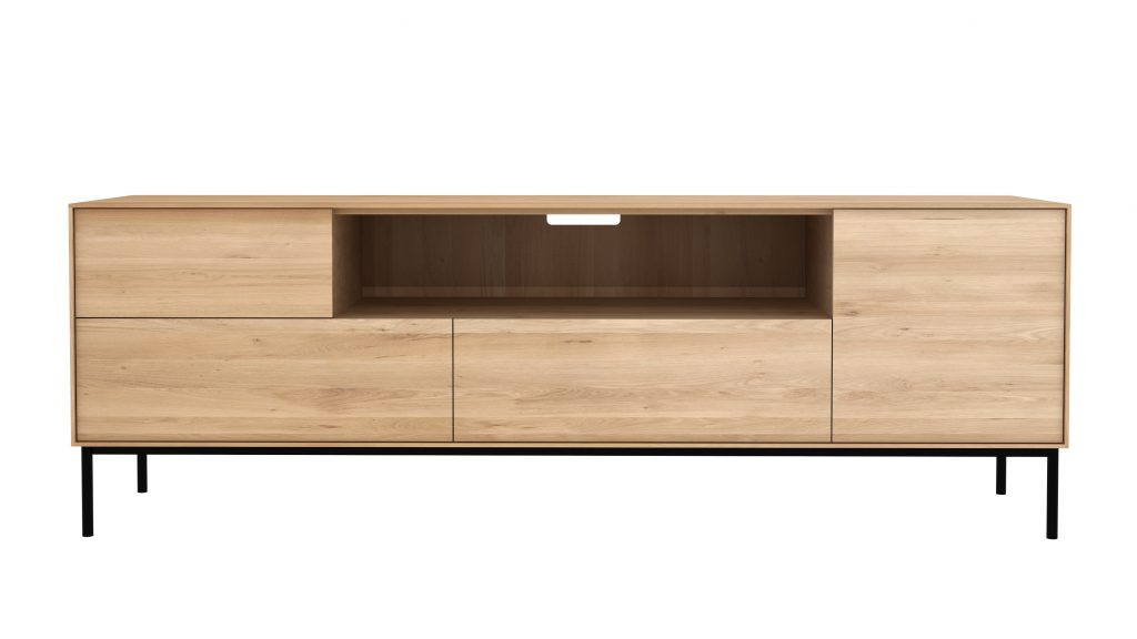 Six Sense Ieper Ethnicraft Eik Whitebird TV cupboard - 1 opening door 1 flip down door 2 drawers