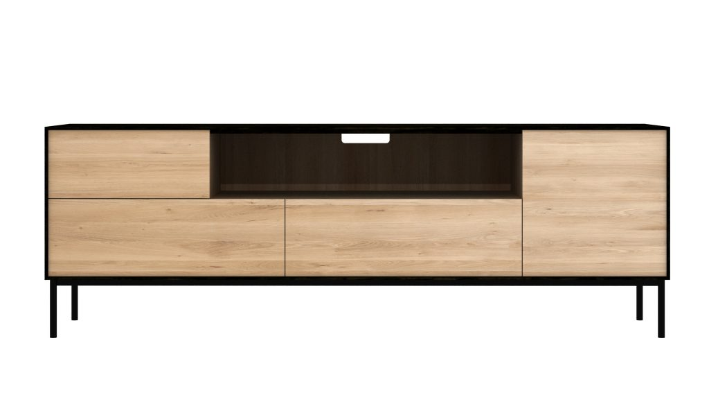 Six Sense Ieper Ethnicraft Eik Blackbird TV cupboard - 1 opening door 1 flip down door 2 drawers