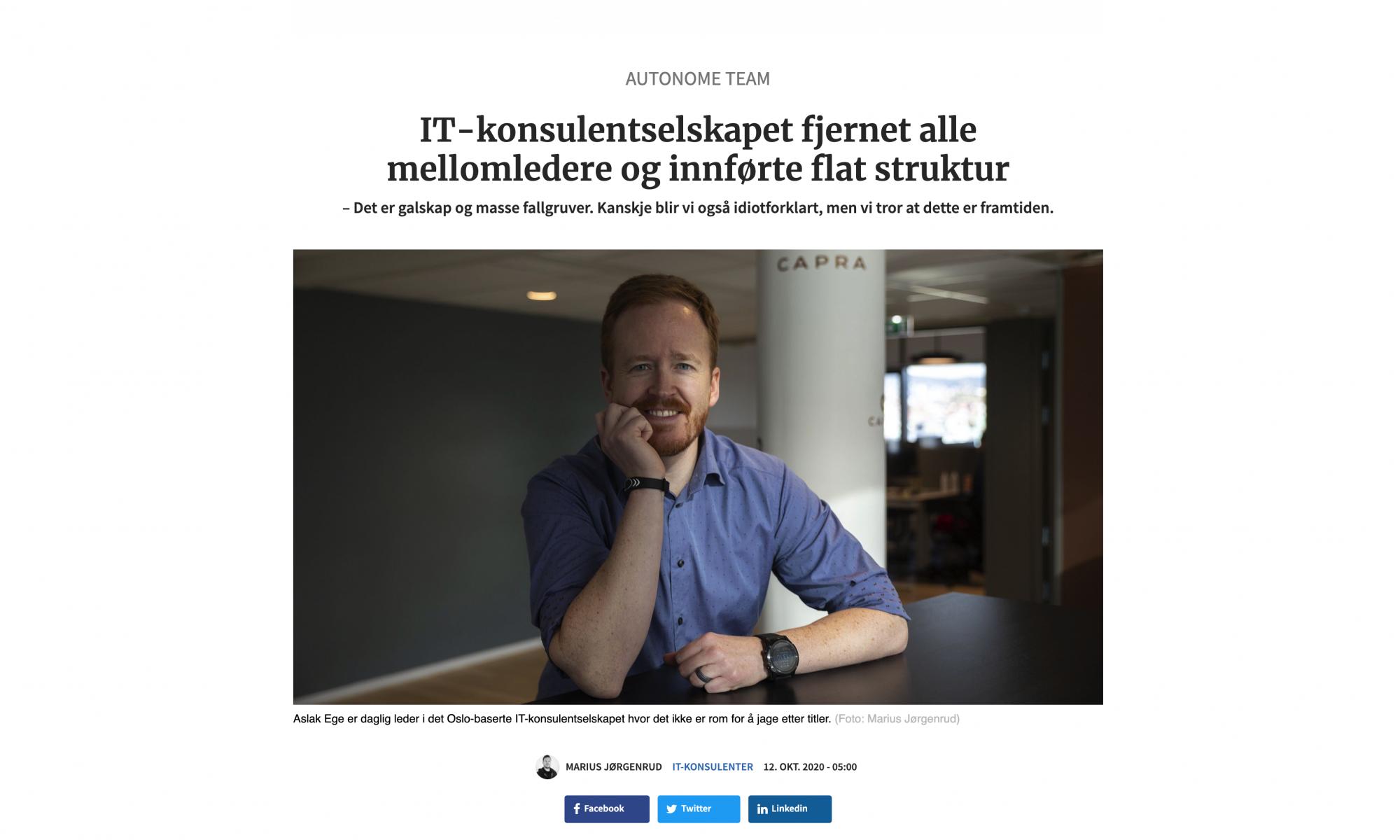 IT-konsulentselskapet som fjernet alle mellomledere og innførte flat struktur med Ørjan Thygesen fra Capra Consulting
