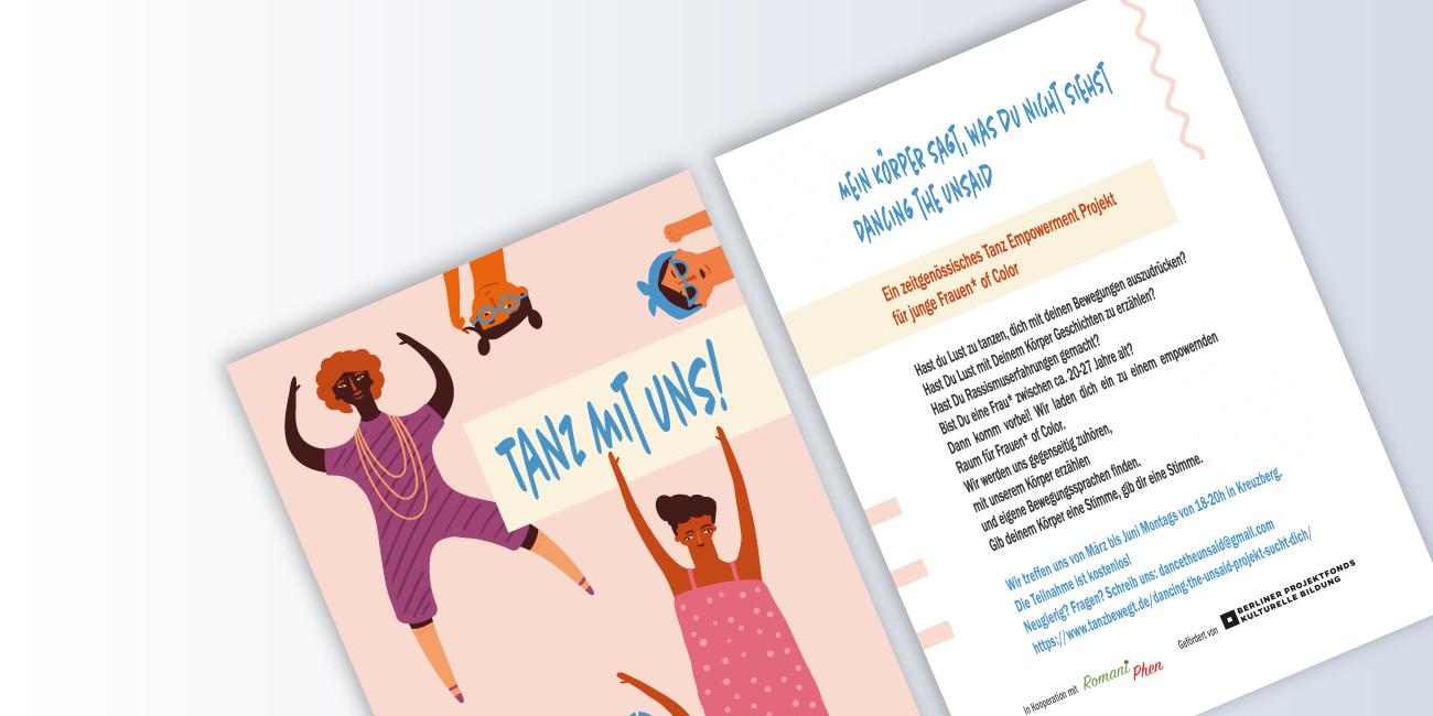 Flyer für das Projekt 'Dancing the Unsaid'