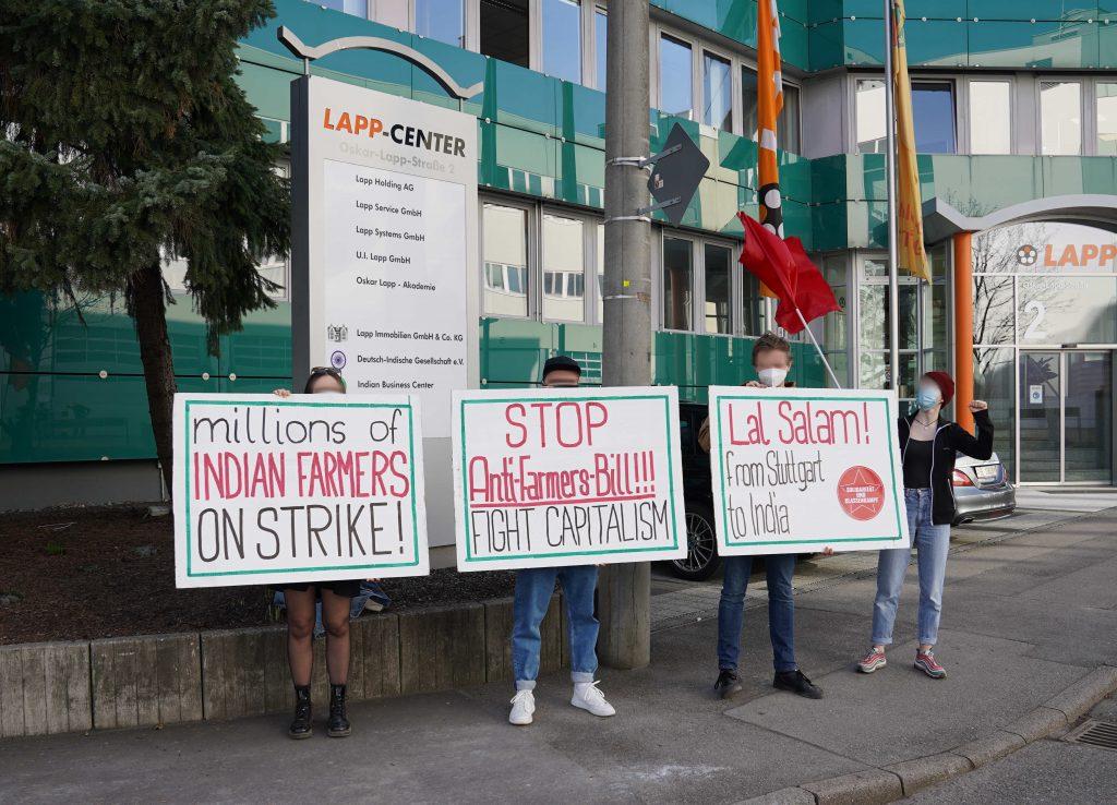 Aktion in Solidarität mit Bauernprotesten vor Honorarkonsulat der Republik Indien in Stuttgart