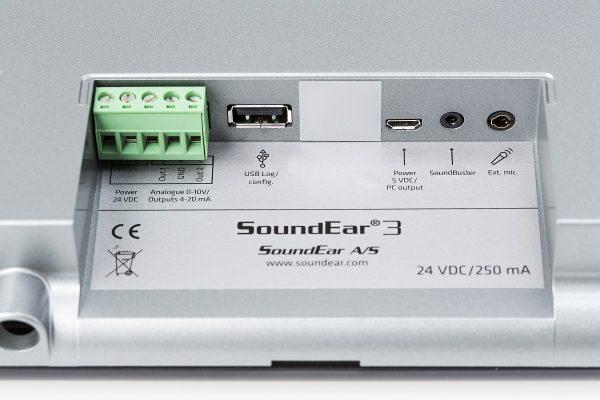 SoundEar3-310 tilslutningsmuligheder bagpå støjmåleren