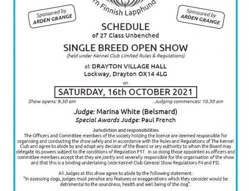 Open Show entry 55 dogs – visitors welcome 16/10/21