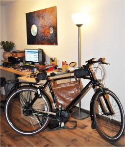 fiets in de huiskamer