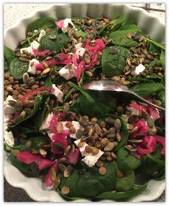 linsesalat med rødløg