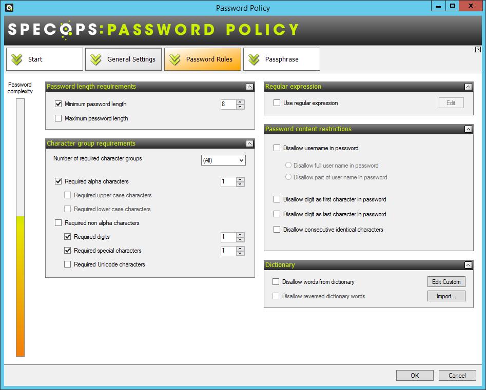 Specops Password Policy example