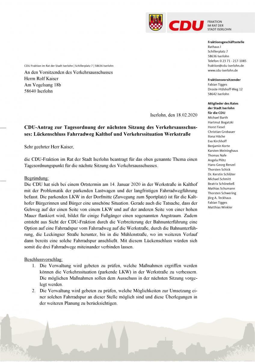 CDU-Antrag zur Tagesordnung der nächsten Sitzung des Verkehrsausschus-ses: Lückenschluss Fahrradweg Kalthof und Verkehrssituation Werkstraße_1