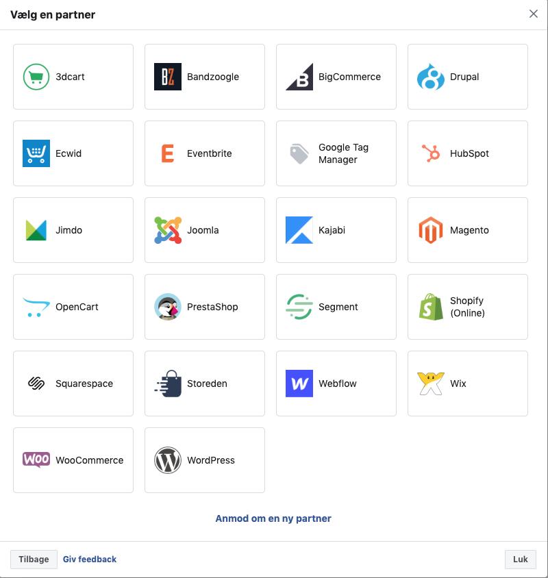 Partner installation pixel kode