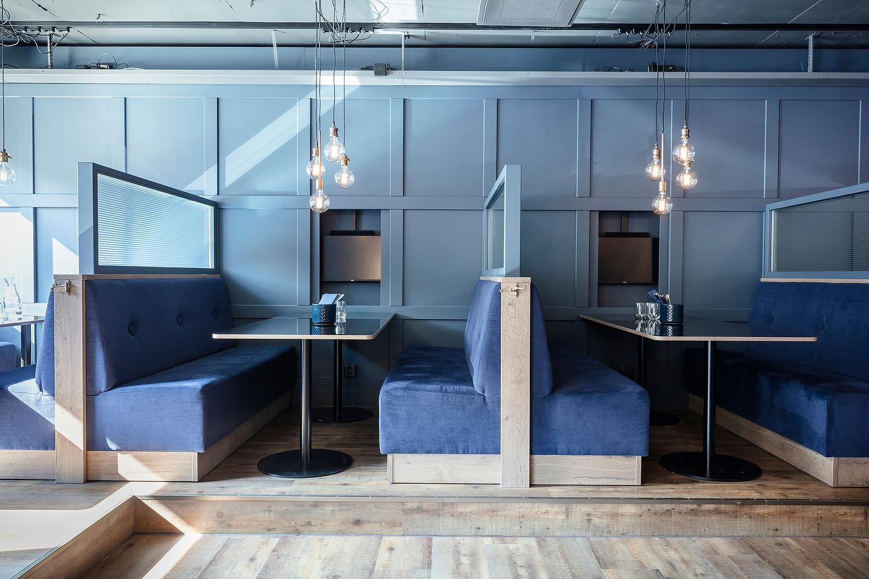 Studio A3, Dolda tv-apparater, panelvägg, Bås, restaurang