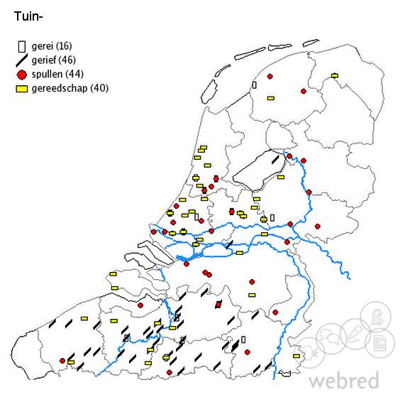 taalkaart tuingerief, tuingerei, tuinspullen, gereedschap