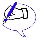 logo taalverhalen: schrijvende hand in tekstballon