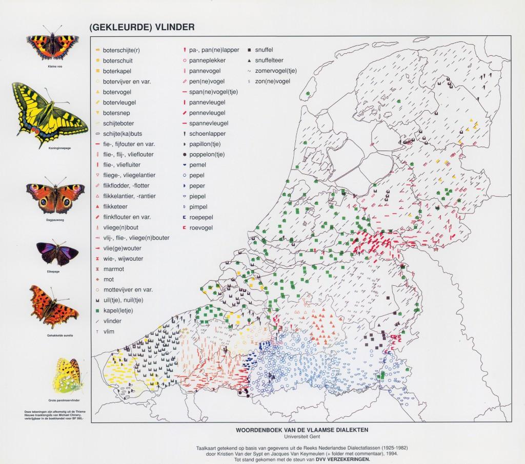Dialectkaart Gekleurde vlinder 1994