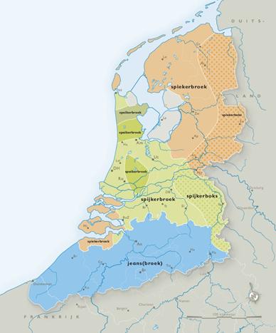 Taalkaart Spijkerbroek, jeans, jeansbroek, spijkerboks, uit: Dialectatlas van het Nederlands, p. 88