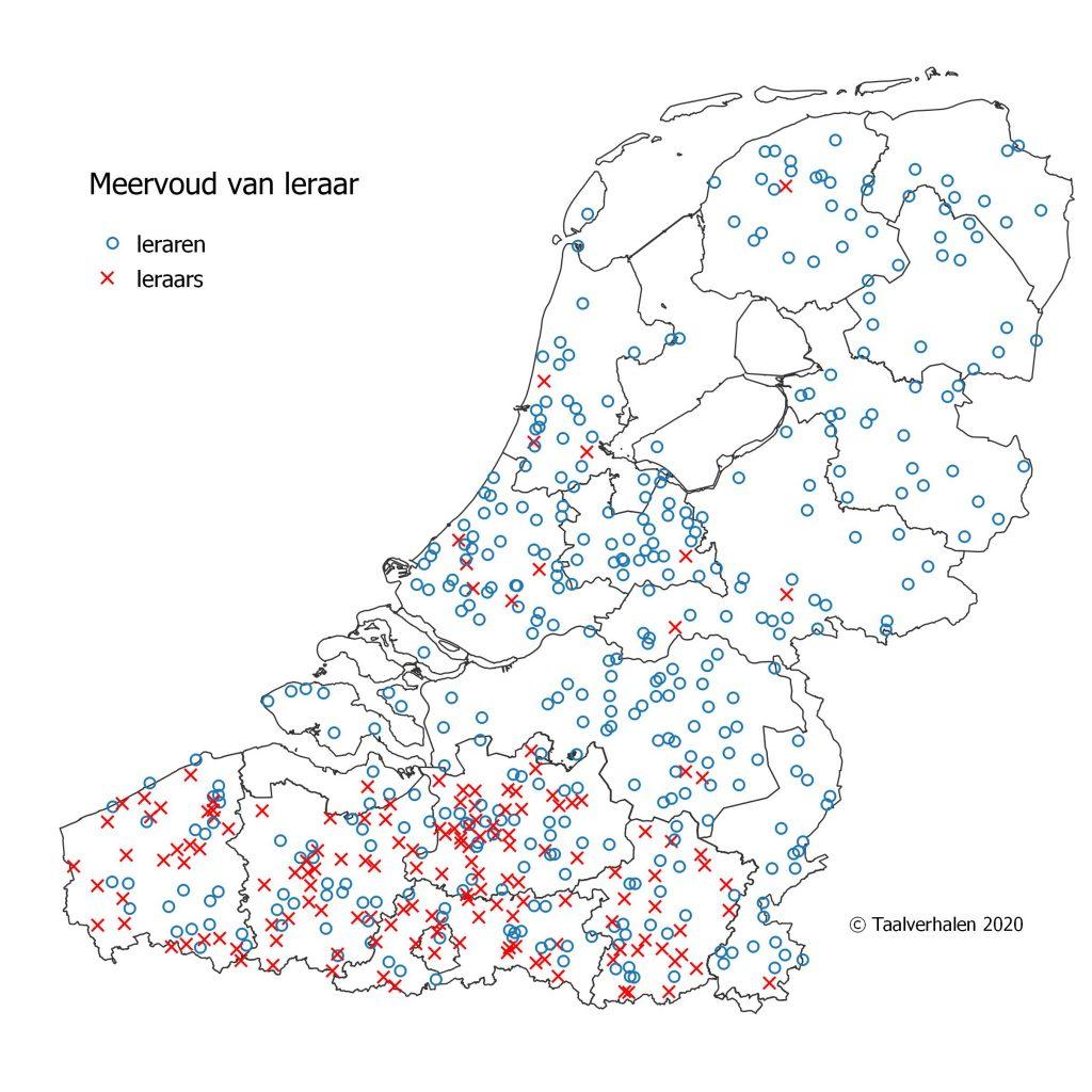 Taalkaart verspreiding meervoud leraar: leraren (Nederland) of leraars (België)