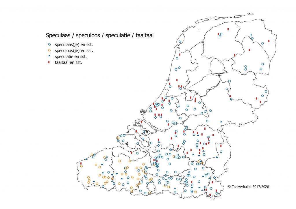 Taalkaart Vlaanderen en Nederland met speculaas, speculoos, speculatie en taaitaai