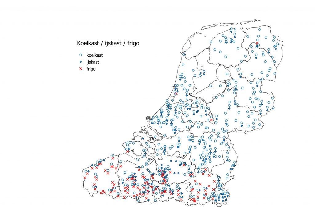 taalkaart koelkast - ijskast - frigo. Frigo komt alleen in Vlaanderen voor, de andere twee begrippen zijn bekend in het hele taalgebied.