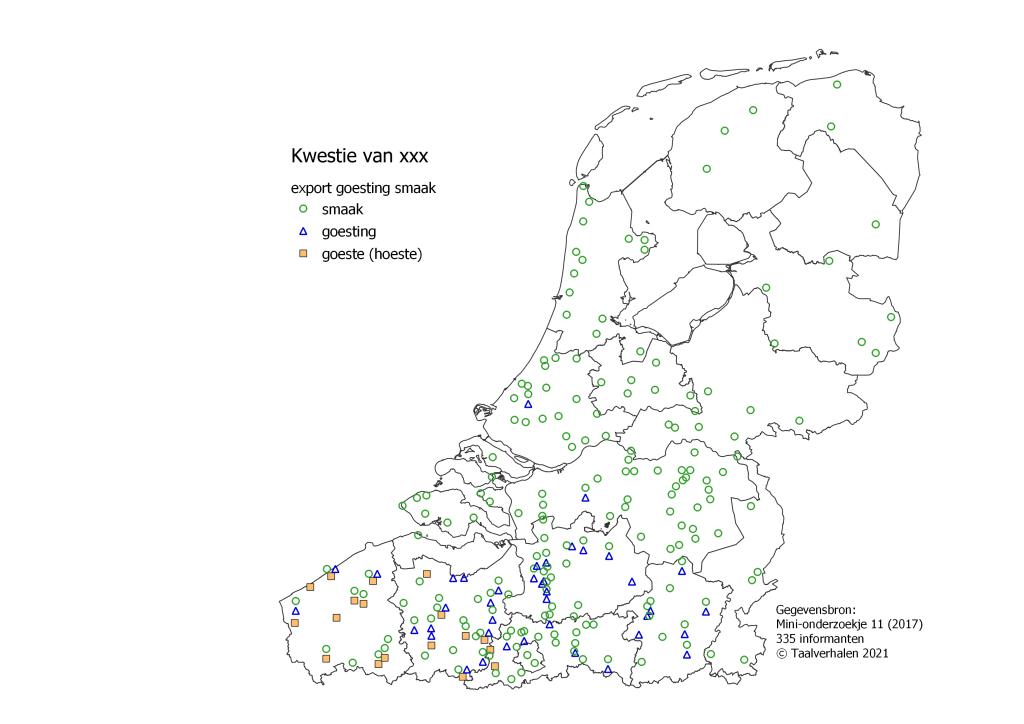 taalkaart 'kwestie': smaak in het hele taalgebied, goesting in Vlaanderen, goeste in West- en Oost-Vlaanderen