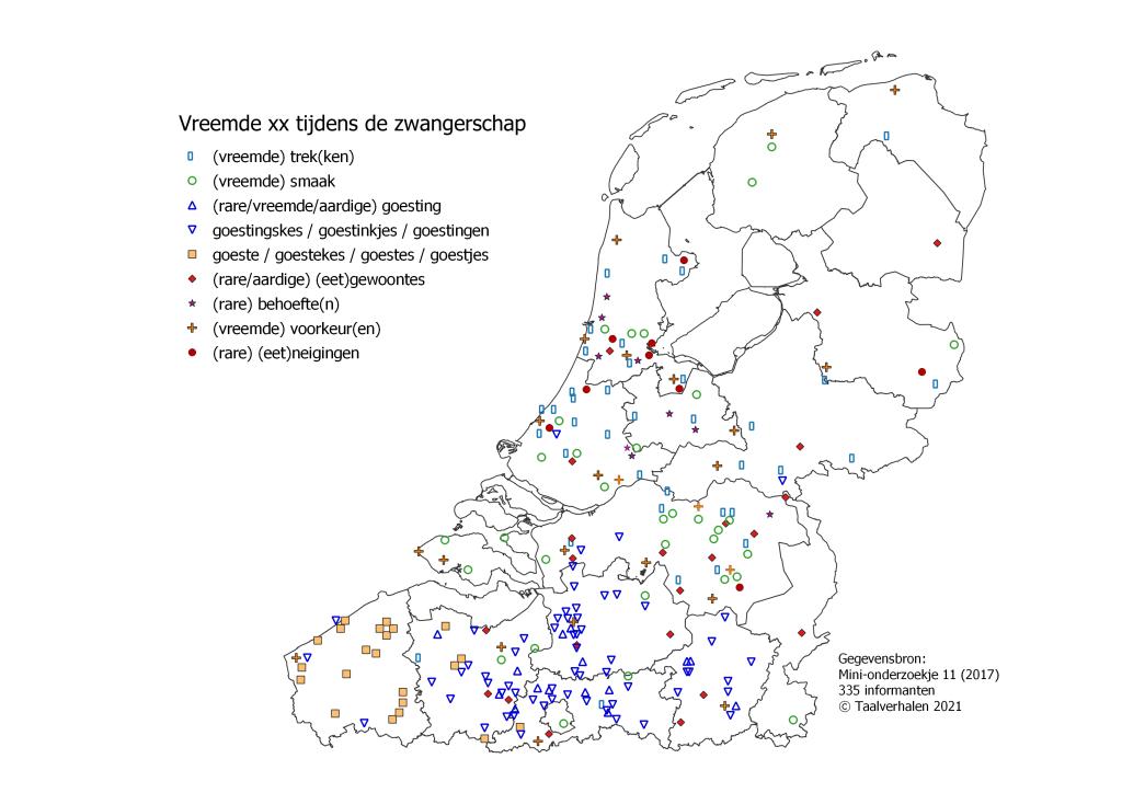 taalkaart 'vreemde voorkeuren tijdens zwangerschapi': trek vooral in Nederland, goestingskes in Vlaanderen, goestjes in West- en Oost-Vlaanderen. Ook verspreid in Nederland: smaak, gewoontes, behoeftes, voorkeuren, neigingen