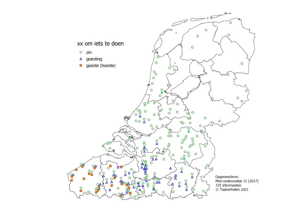 taalkaart 'zin om iets te doeni': zin in het hele taalgebied, goesting in Vlaanderen, goeste in West- en Oost-Vlaanderen