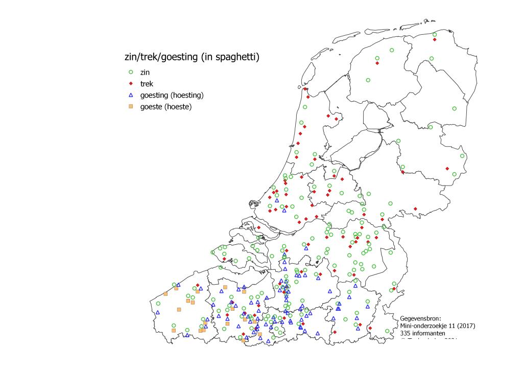 taalkaart 'zin in spaghetti': zin in het hele taalgebied, trek vooral in Nederland, goesting in Vlaanderen, goeste in West- en Oost-Vlaanderen