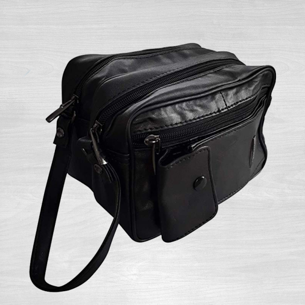 black money bag with strap