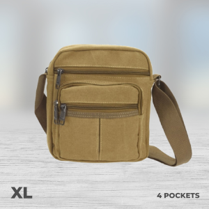 4 pocket tan money bag xl