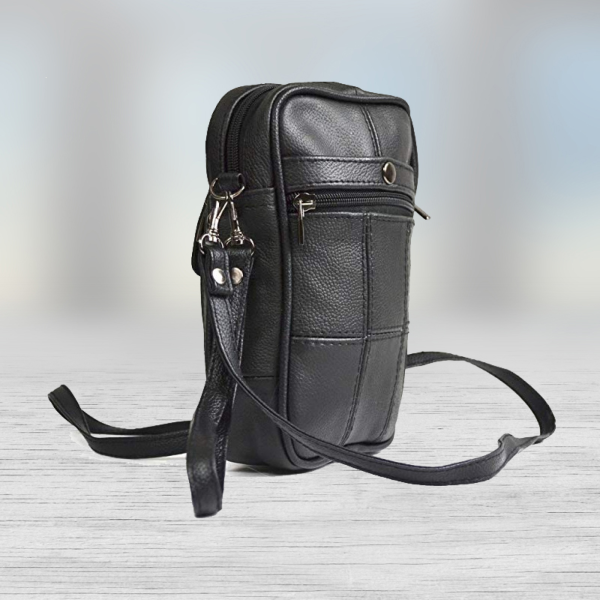 black leather money bag