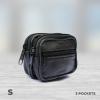 3 pocket money bag with zip leather