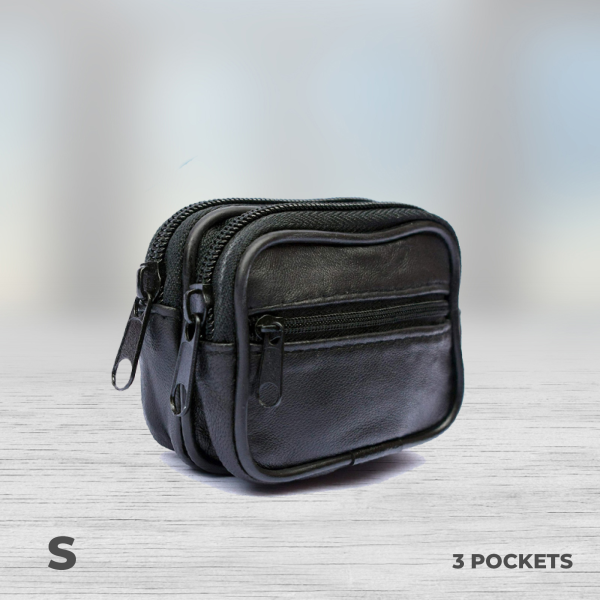 3 pocket money bag with zip leather