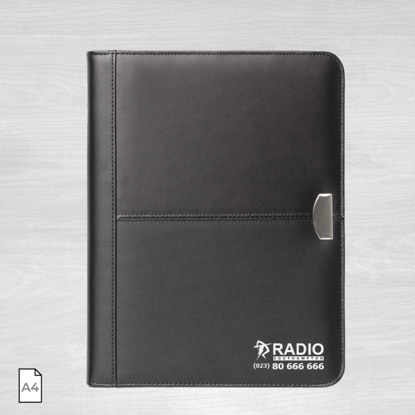 A4 conference folder black leather