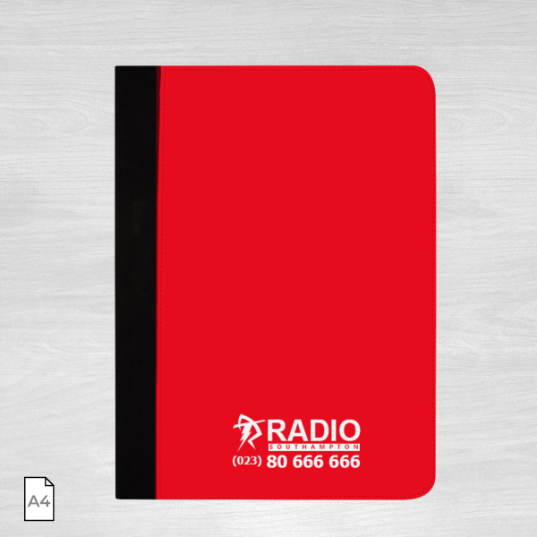 Black and red conference folder