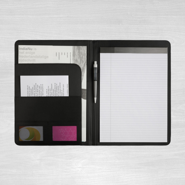 A4 Black leather conference folder