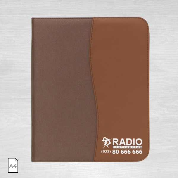 Brown leather conference folder