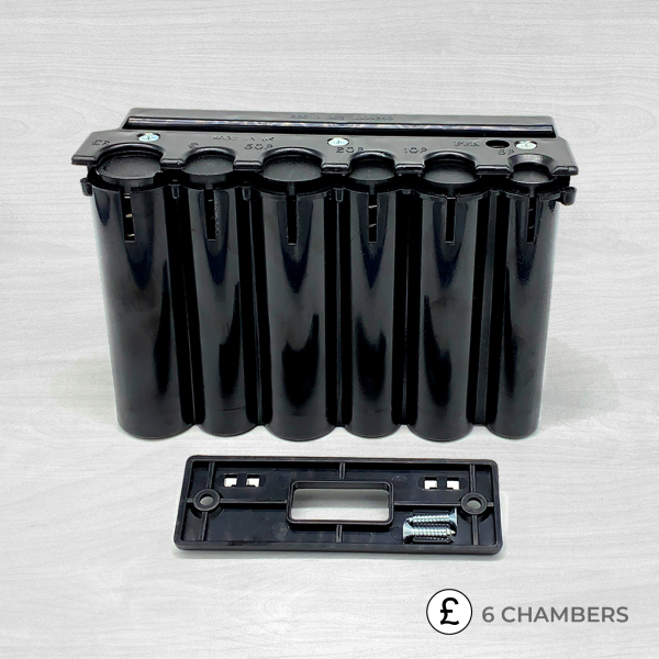 6 chamber coin dispenser black with screw fixture