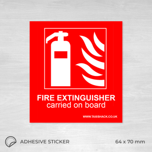 Fire extinguisher carried on board sticker