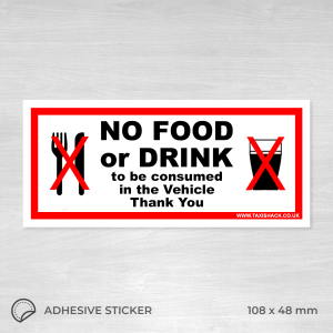 No food or drink to be consumed in the vehicle