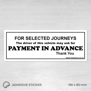 Payment in advance for selected journeys sticker