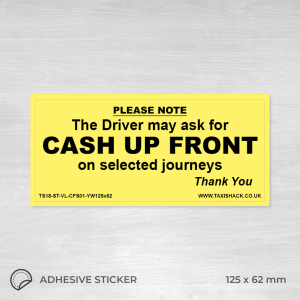 Cash up front on selected journeys sticker