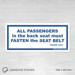 All passengers must fasten seat belt sticker