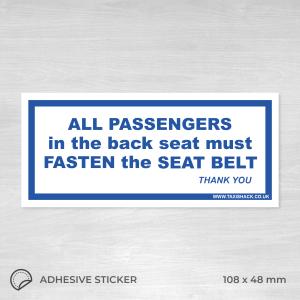 All passengers must fasten seat belt sticker