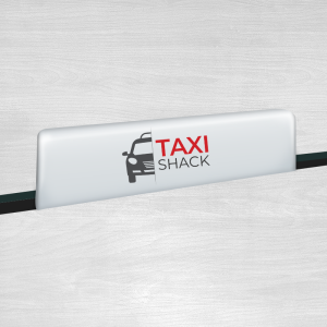Bar 18 Taxi top sign in white