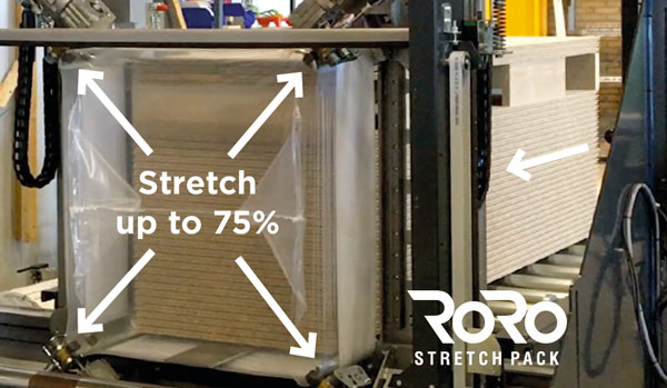 RoRo StretchPack® performs a cold packaging process where packaging and sealing are done in only one operation.