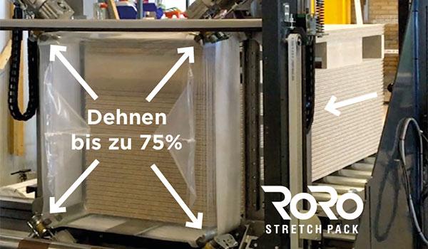 Durch das Dehnen des Folienschlauchs beim Verpacken lassen sich erhebliche Folieneinsparungen von bis zu 60 % erzielen.