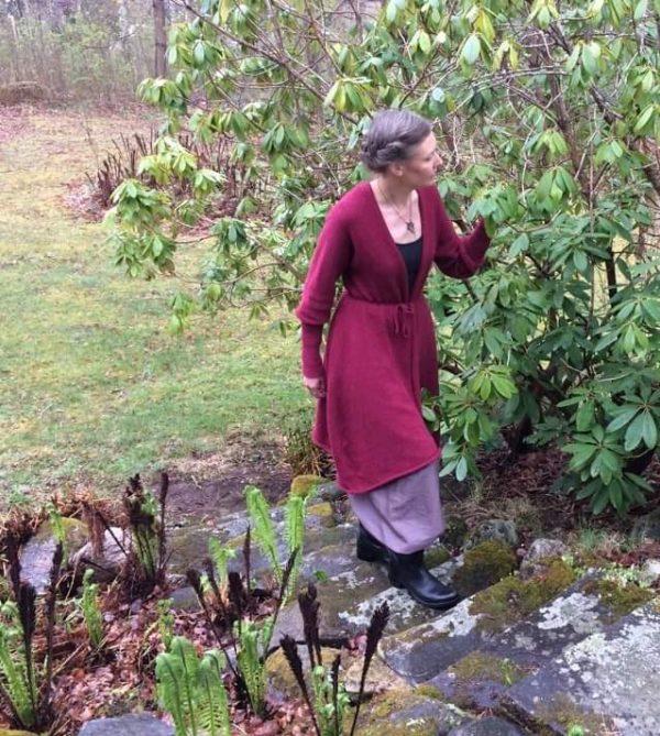 Alpackakofta i trädgården.
