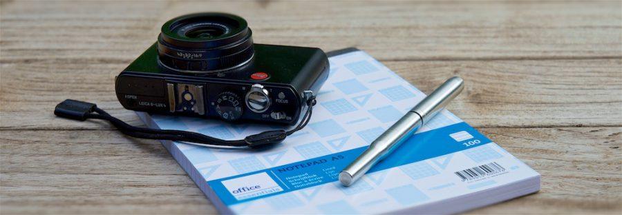 Cursus Storytelling Fototoestel en schrijfblok