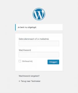 Voorbeeld inlogscherm WordPress